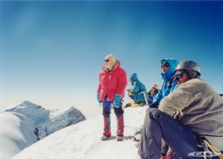 Dr Mark Cox and Dr Jim Milledge on the summit of Mera, 2003