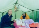 Dr Dan Martin and Dr Paul Gunning checking medical equipment, Baruntse 2003