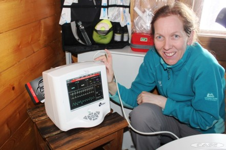 Paula calibrates the Nicom machine