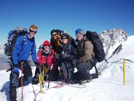 Paula, Tom, Adam, Ali and Al on their way down to the Gnefetti
