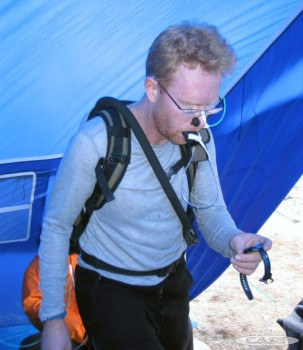 Dr Stuart McCorkell during study on the Baruntse expedition 2003